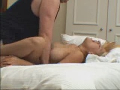 Blonde slut fucked at home